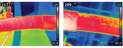 Drain Inspections: thermal image of pipe inspection